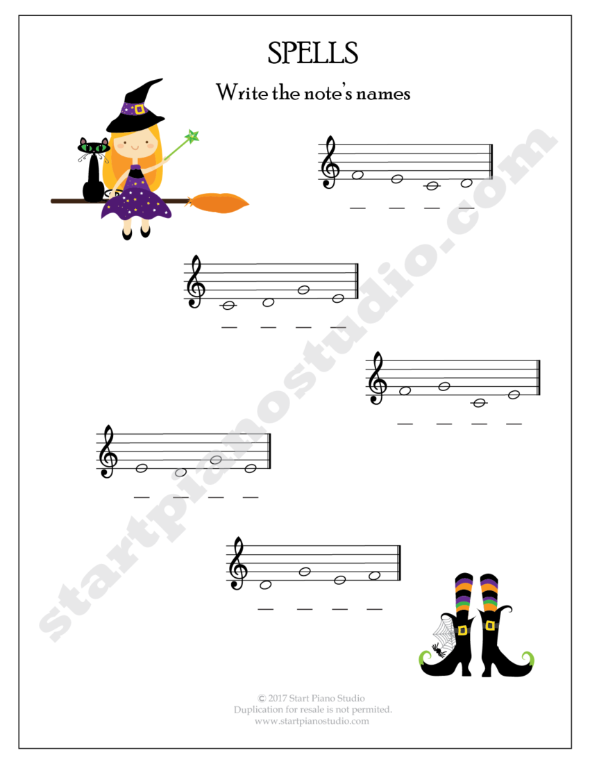 Halloween Theory Printables For The Piano Studio Start Piano