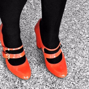 Loes Van Dokkum in  Italian patent leather double-strap Mary Jane's  from Yoox.