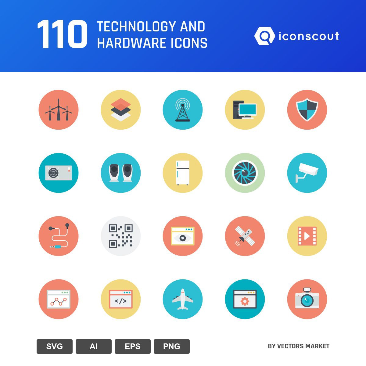 Technology And Hardware icons by Vectors Market