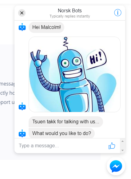 Messenger Customer Chat example