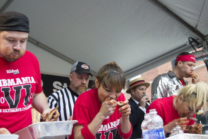 Michelle and Miki competing at RibMania VI at Ribfest Chicago XVII