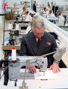The Prince of Wales during a tour of the Shirt Manufacturing Division of Turnbull & Asser to commemorate the tenth anniversary of the factory.