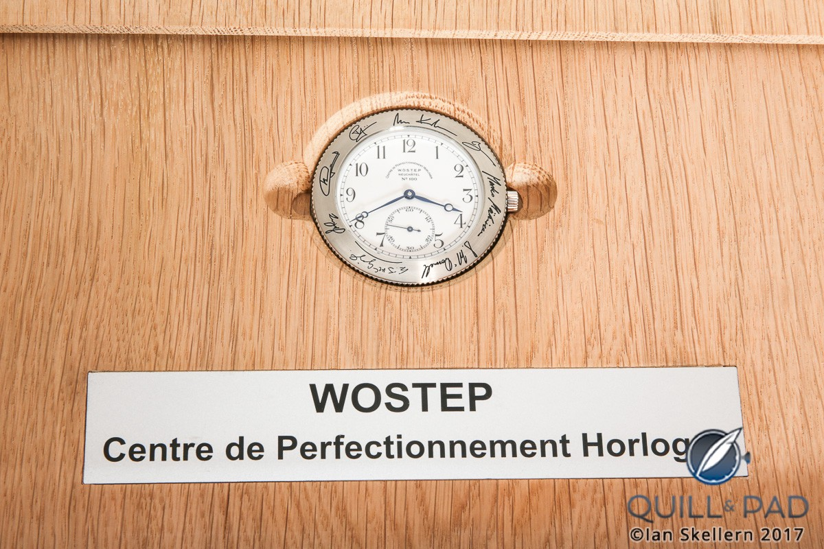 Close up look at WOSTEP School Watch for Only Watch 2017 in its presentation case