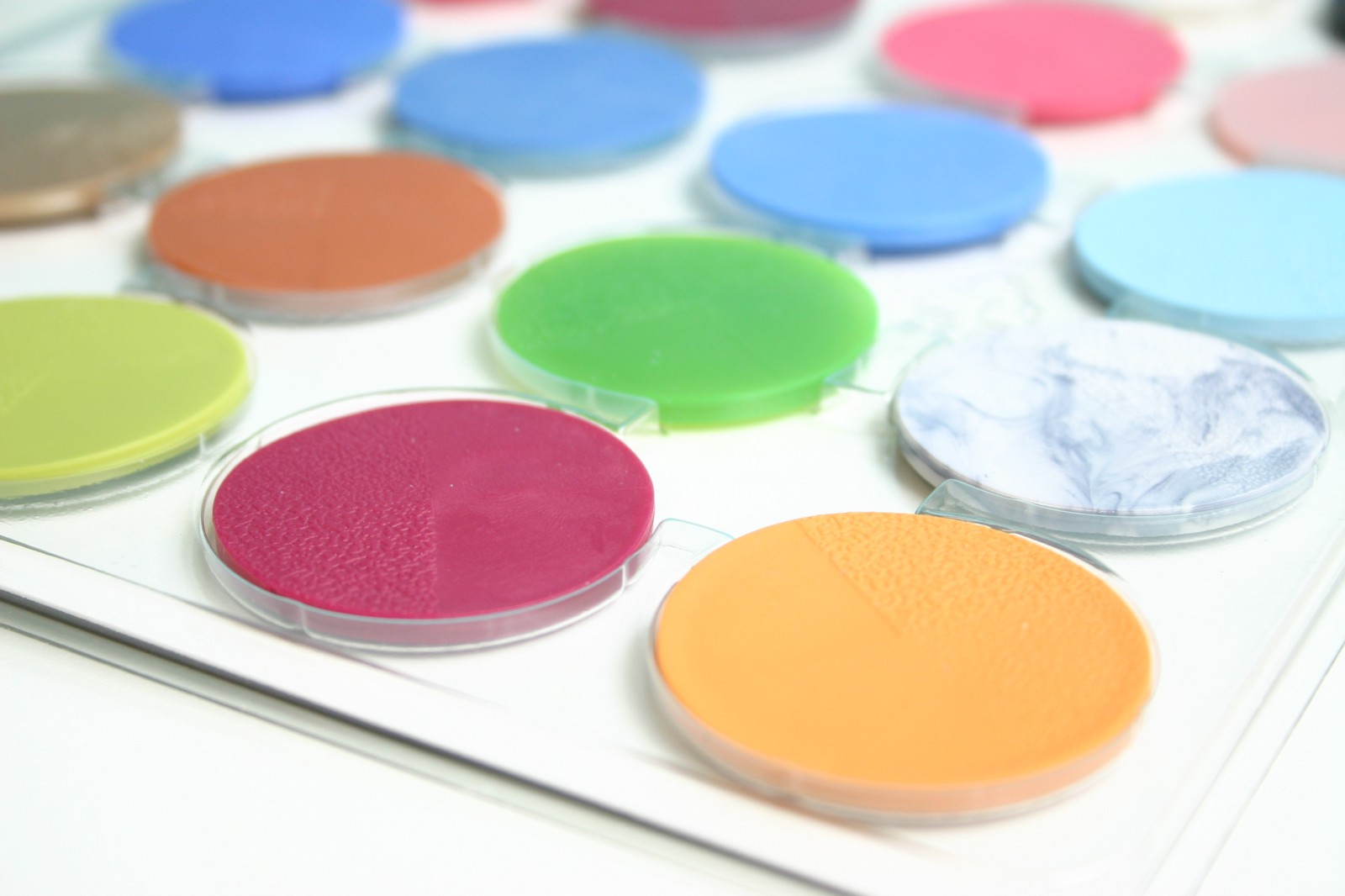 A sample kit of different TPE formulations from a TPE manufacturer.