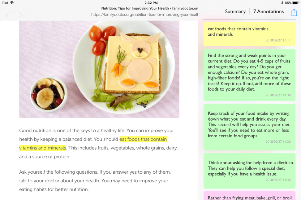 Health diet with MyMarkups