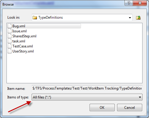 Deploying process template changes using tfs 2010 build again make sure you put each of the xml files in the same order that you used for the work item type names for example your bugxml file will be the maxwellsz