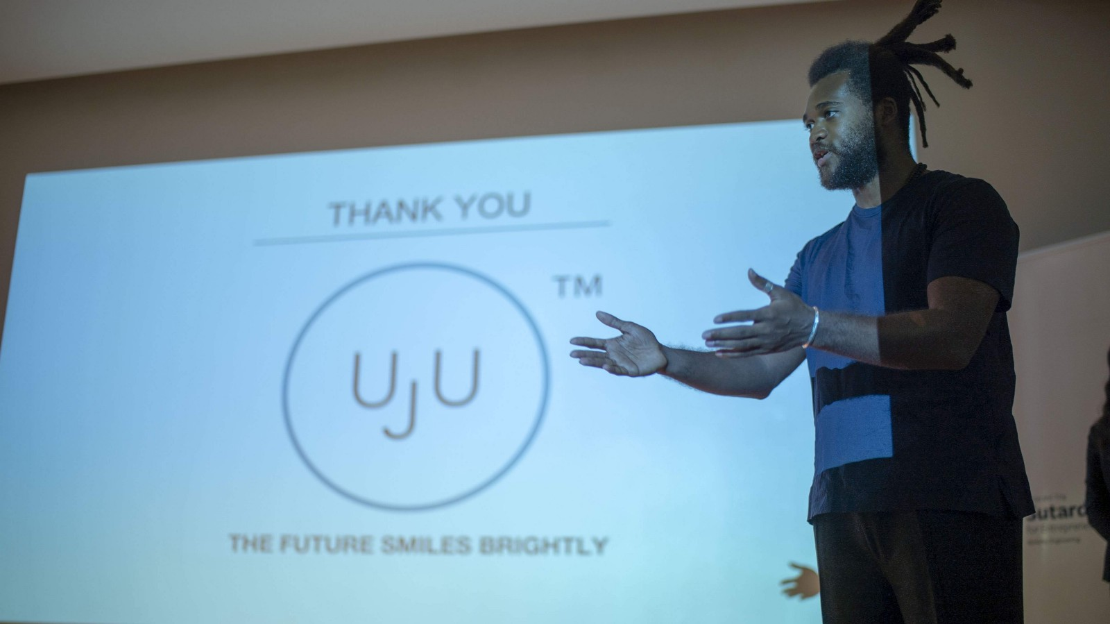 Jordan Coffey pitches UJU to the judges during the final pitch round.