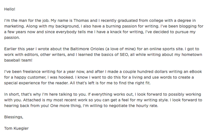 How to write your very first upwork cover letter finding tom heres my first one expocarfo