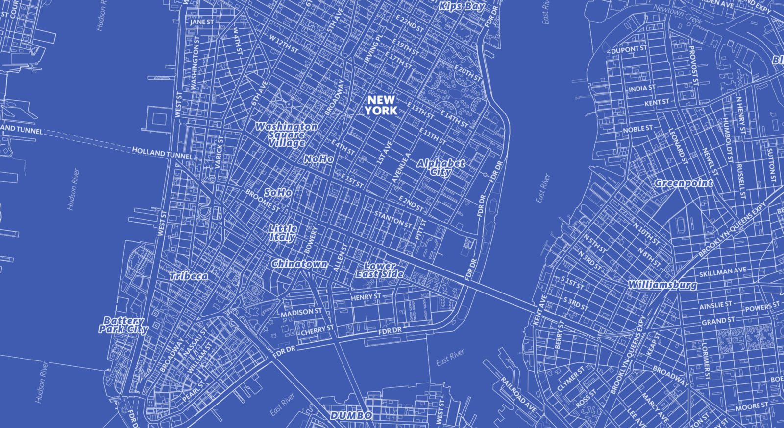 Designing the blueprint style in mapbox studio points of interest blueprint mapbox map of new york city ny malvernweather Image collections