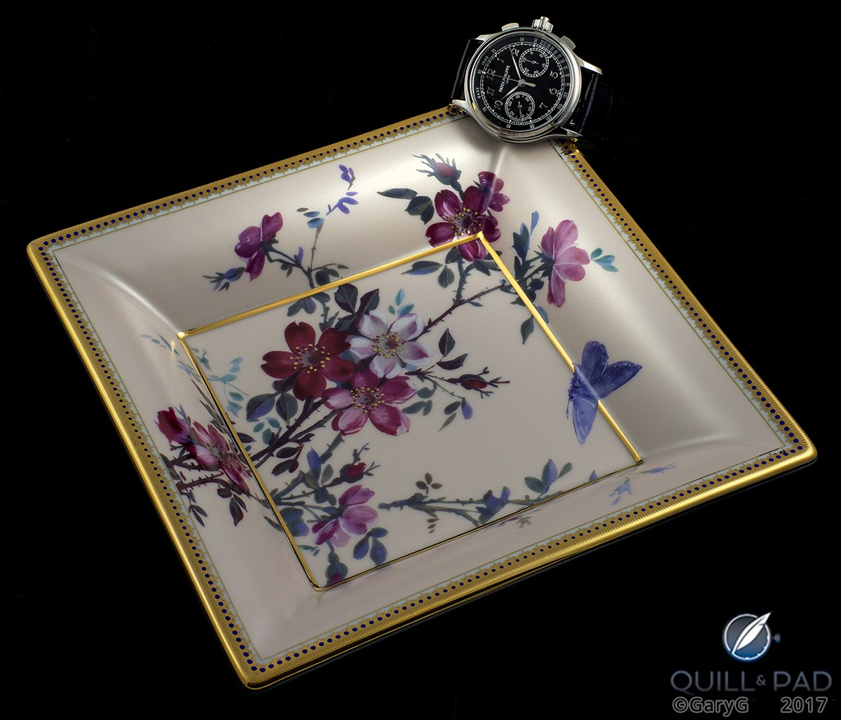 Part of the Patek Philippe experience: the author's Reference 5370P and Patek Philippe-themed dish made by Limoges