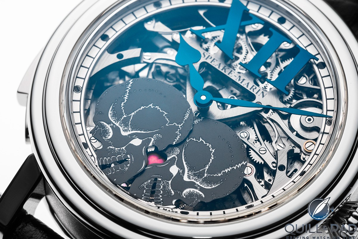 Close up look dial side of the Speake Marin Crazy Skulls minute repeater