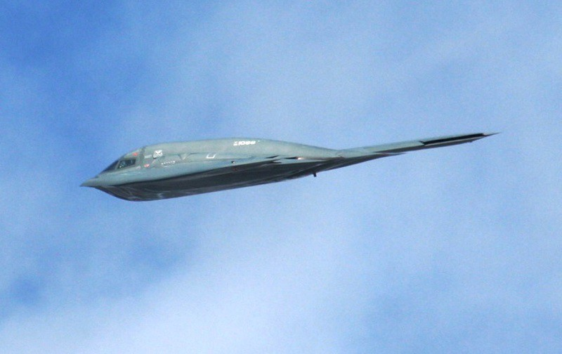 An aircrew flies a B-2 Spirit from Whiteman Air Force Base, Mo., over the airfield as part of an aerial demonstration for the 2010 Airpower Over The Midwest Airshow, Sept. 11, at Scott AFB, Ill. Tens of thousands of people attended the two-day airshow.