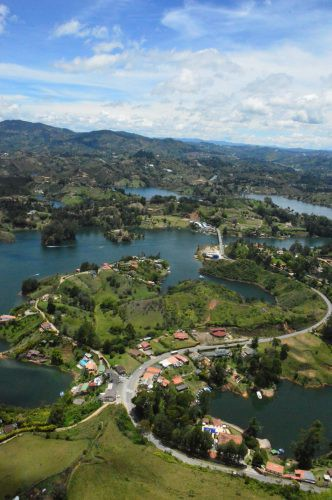 View of lakes of Guatape from top of Piedra Penon Colombia