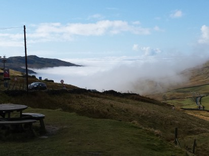 The Windermere valley in mist