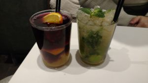 Some of the drinks we tried from a bar located across from the Church of Santa Maria del Mar to get out of the rain!