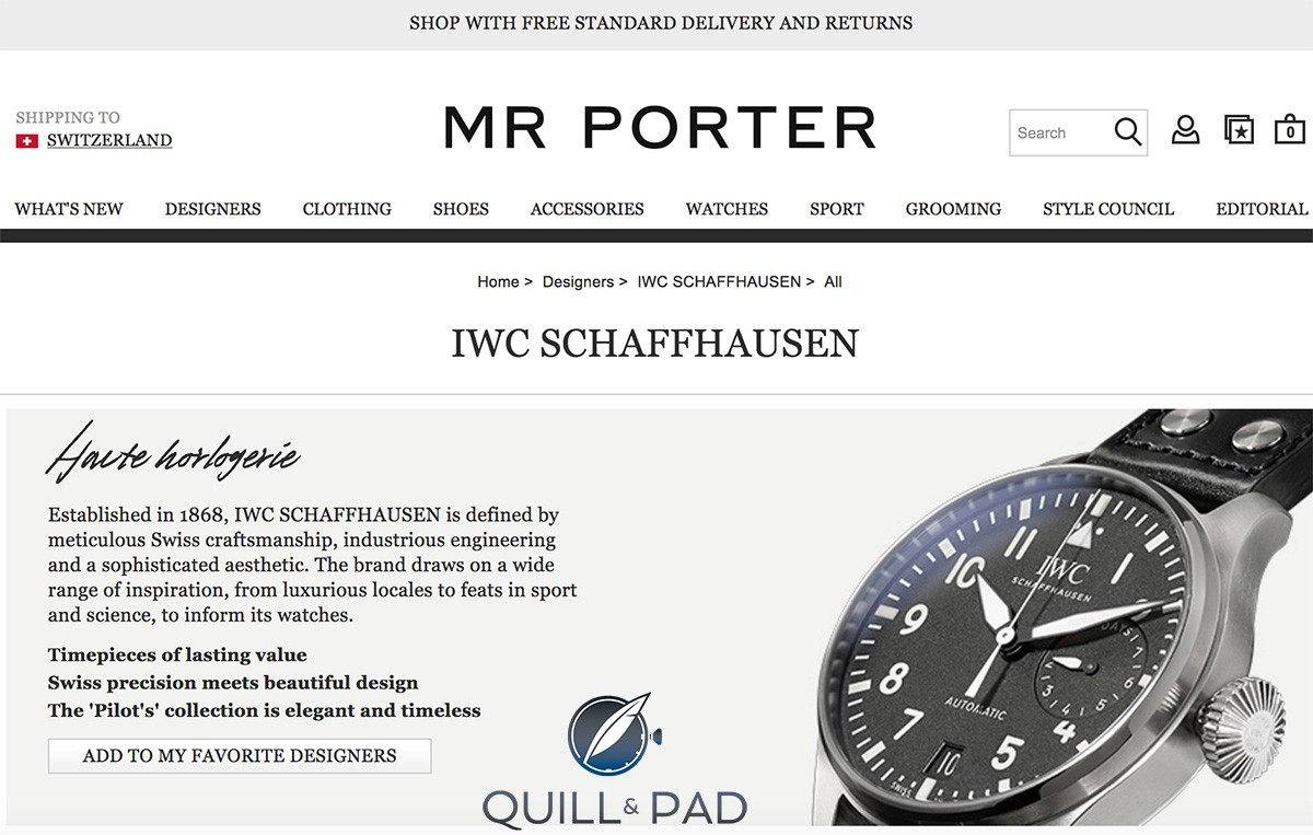 IWC on the Mr Porter internet sales platform
