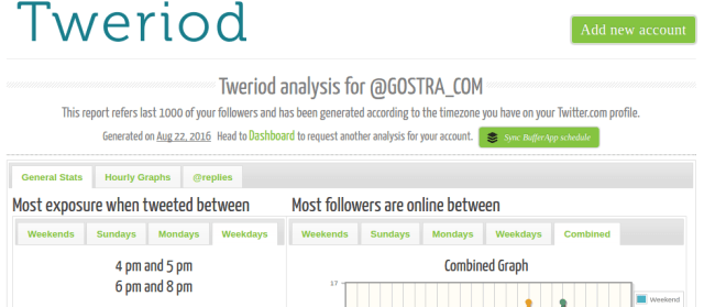 Tweriod is a free twitter tool that helps you make the most of Twitter by letting you know the best time to tweet for more exposure and replies by analyzing your account