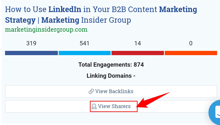 """click on the """"view sharers"""" button to see all those who shared the content"""