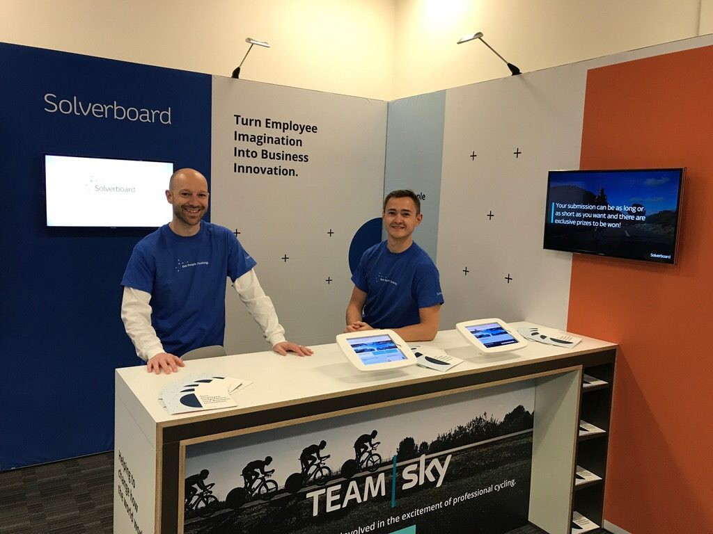 Aaron and Toby on the Solverboard stand