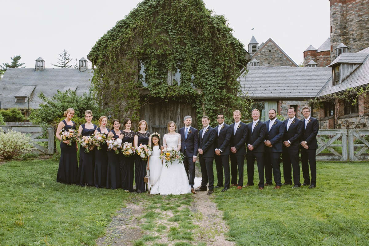 wedding party - http://ruffledblog.com/modern-country-meets-secret-garden-wedding