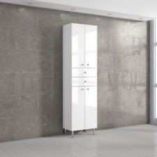 Tall White Gloss Bathroom Cabinet 2