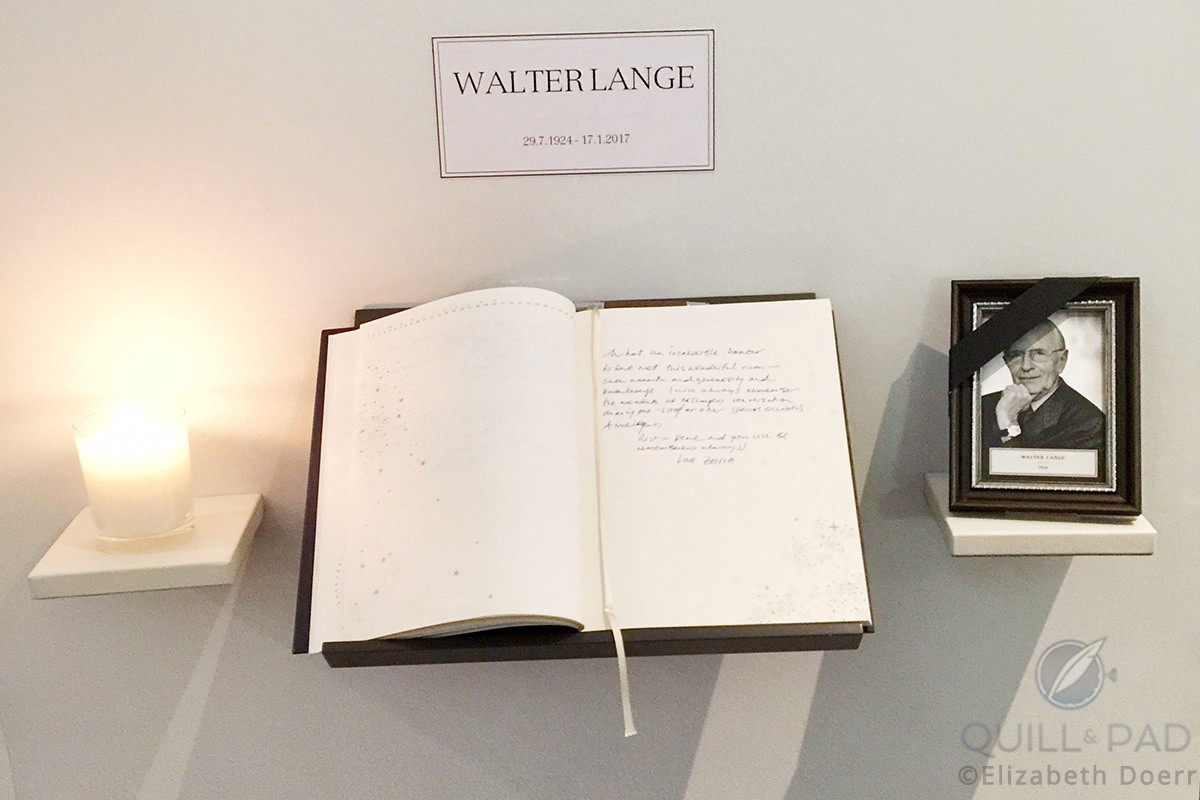 Tribute to Walter Lange at the A. Lange & Söhne booth at SIHH 2017