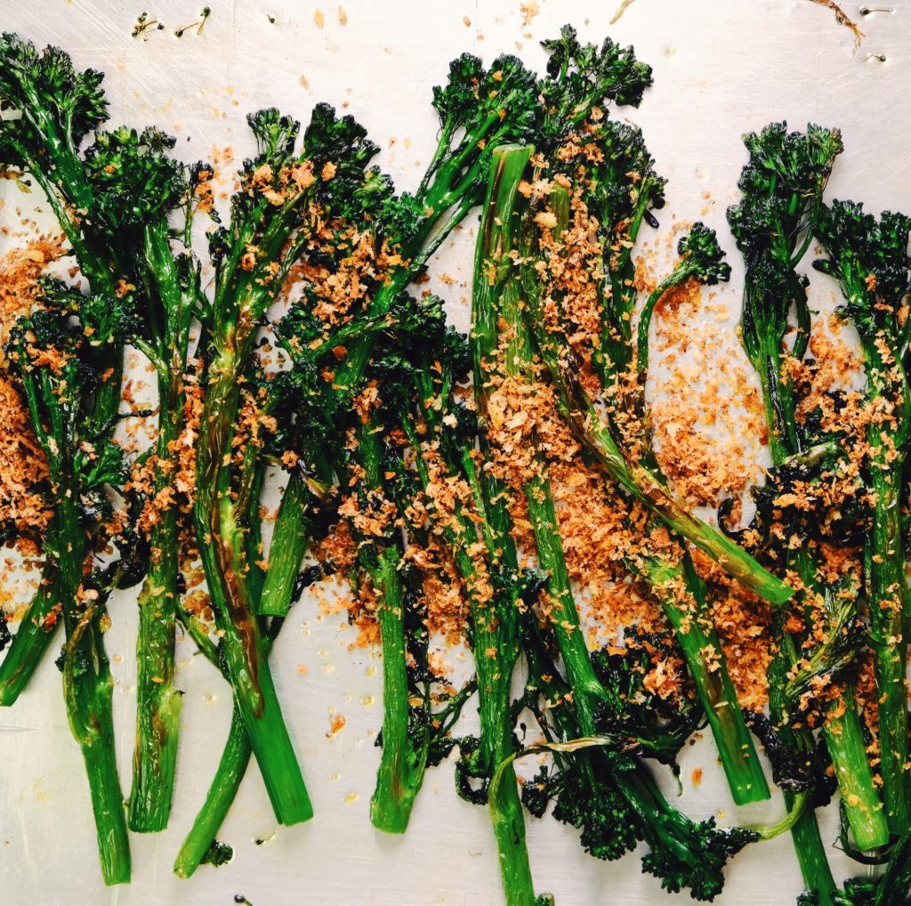 Grilled Tenderstem Broccoli with Umami Crumbs