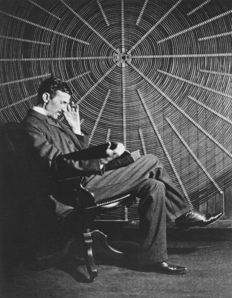 Tesla is reading, thinking on a chair