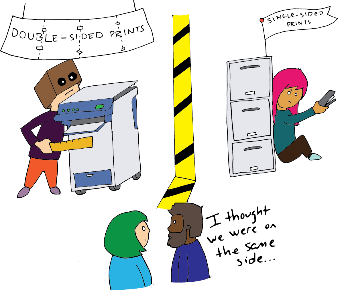 Two coworkers square off over printing single sided or double sided as colleagues look on