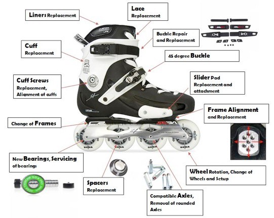 All parts of an inline skate