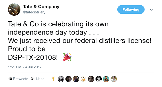 Tate & Company's announcement on Twitter that it received its federal distillers permit (DSP). Image courtesy Twitter.
