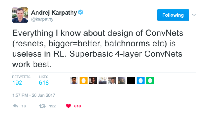 "Screenshot of a tweet by @karpathy that reads ""Everything I know about design of ConvNets (resnets, bigger=better, batchnorms etc) is useless in RL. Superbasic 4-layer ConvNets work best."""