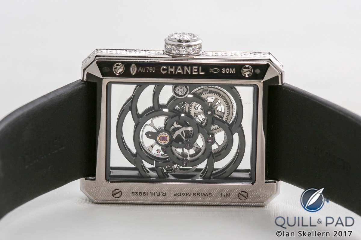 Chanel Première Camellia Skeleton from the back