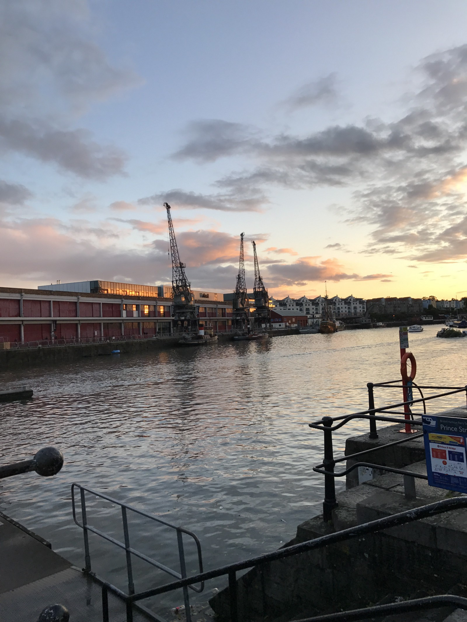 View across the harbour to MShed at sunset