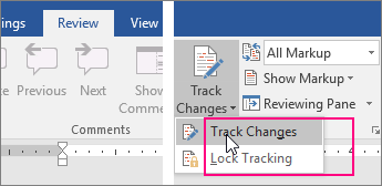 When you click the Track Changes button, the available options are highlighted - www.office.com/setup