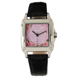 Pink Bible Verse Inscribed Square Leather Watch