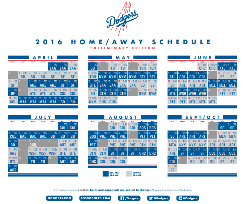 2016 Dodger Schedule Everything You Need To Know Dodger Insider