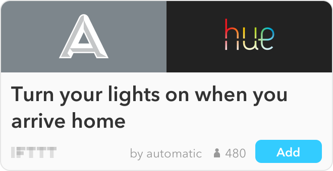 IFTTT Recipe: Turn your lights on when you arrive home connects automatic to philips-hue