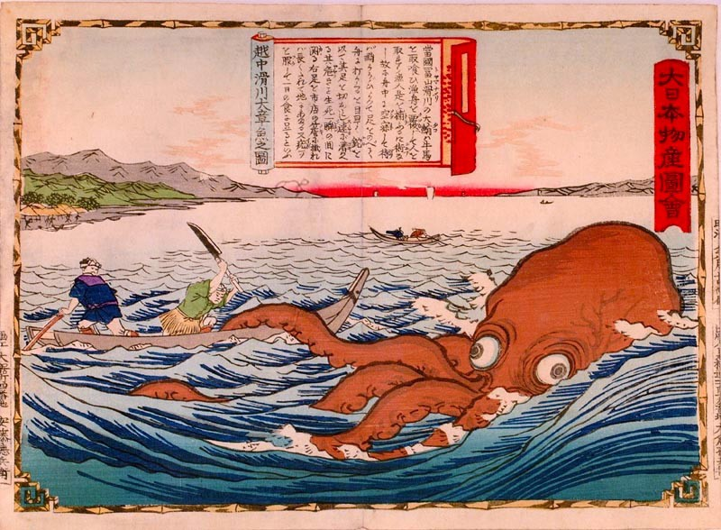 Fishermen are fighting against a large octopus
