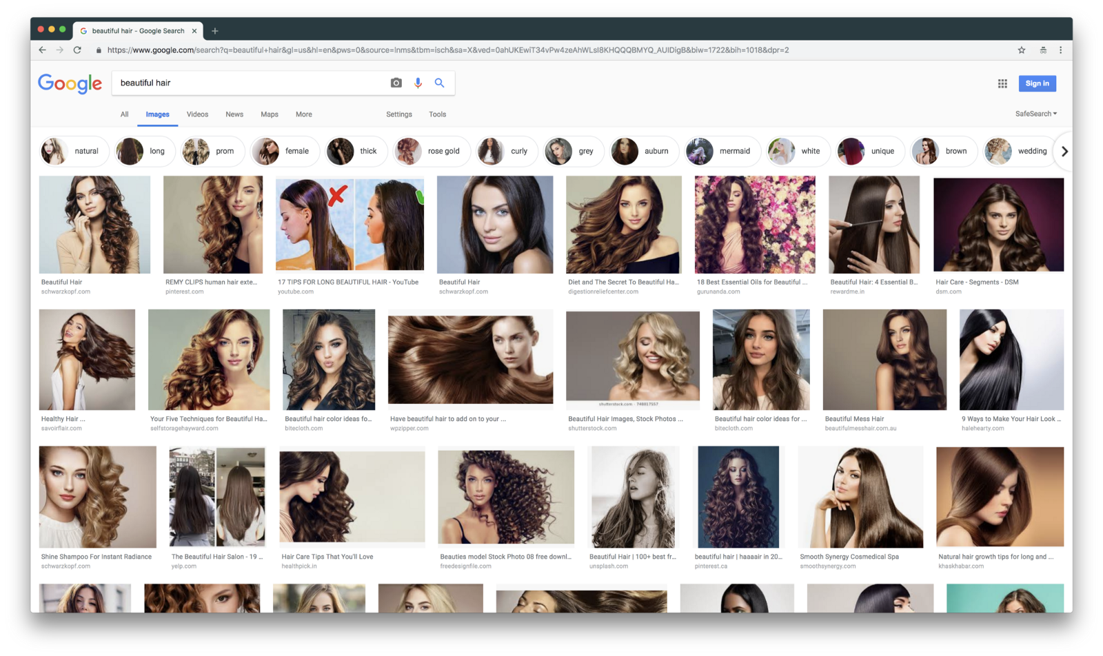 Google SERP for beautiful hair
