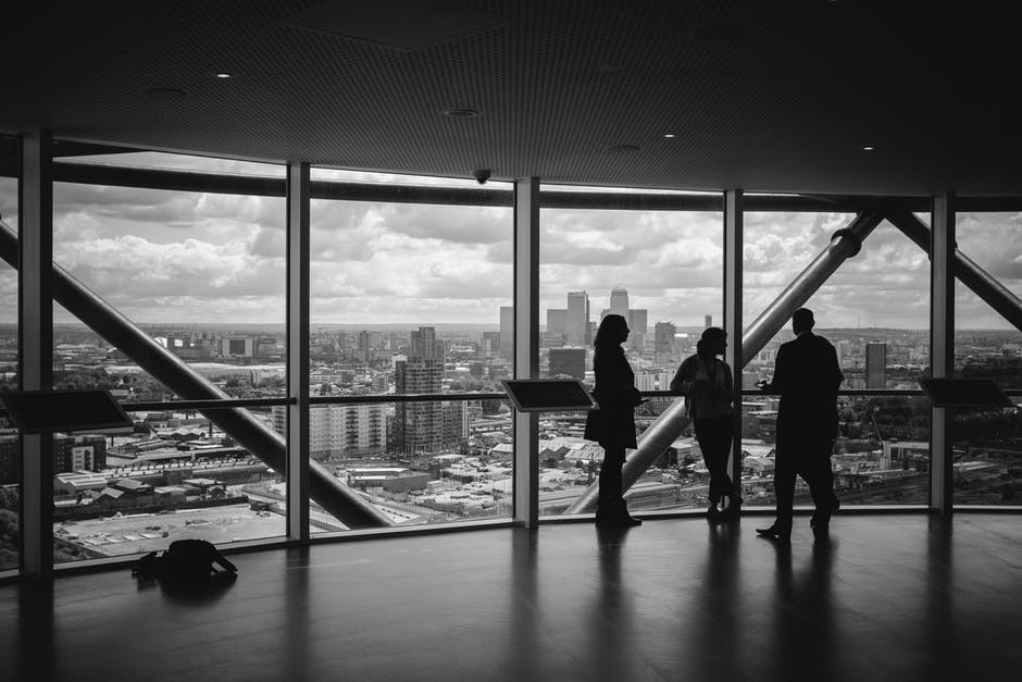 black-and-white, business, city