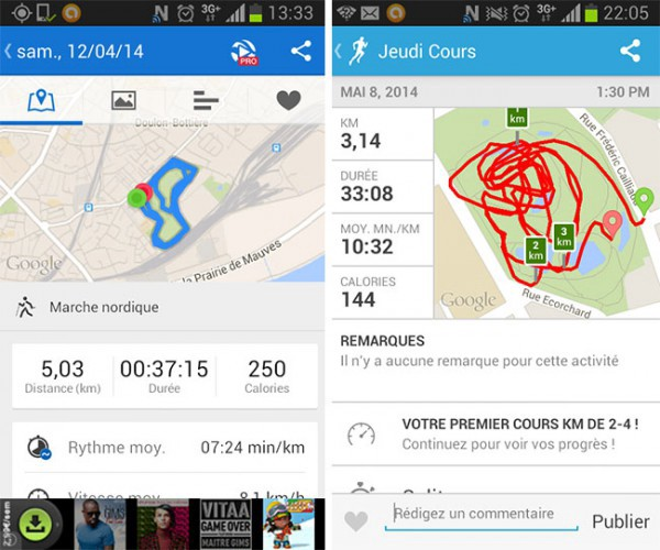 Android Runkeeper French