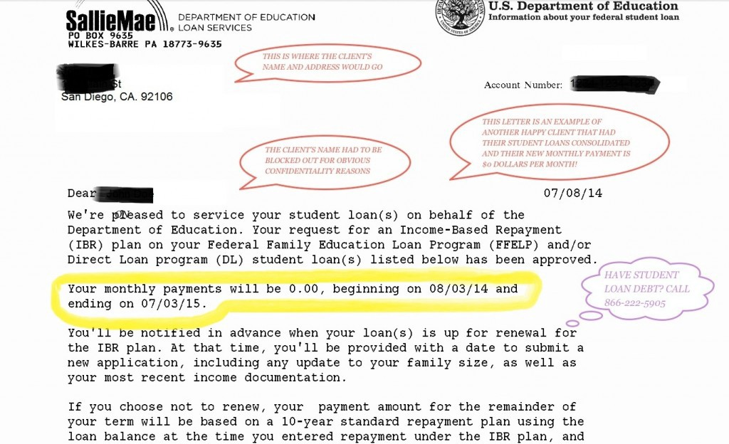 Student loans in 2017 step by step student loan relief guide zero dollar per month federal student loan consolidated payment approved example letter spiritdancerdesigns Images