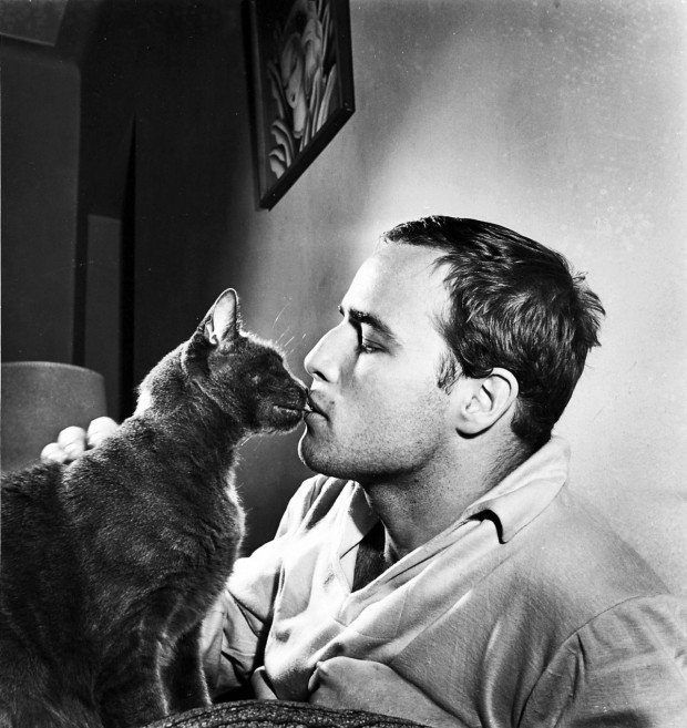 Marlon Brando with His Cat at Home