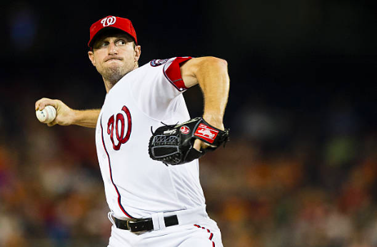 WASHINGTON, DC - AUGUST 25: Max Scherzer #31 of the Washington Nationals throws a pitch to a Baltimore Orioles batter in the sixth inning during a MLB baseball game at Nationals Park on August 25, 2016 in Washington, DC.