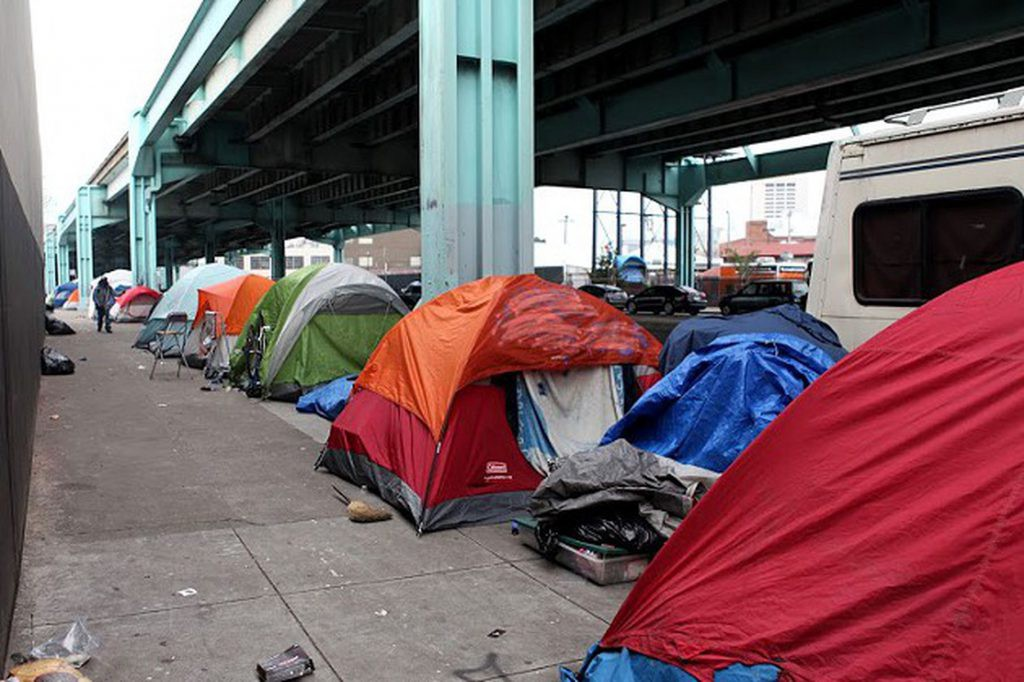 Tent encampments under the highway in San Francisco