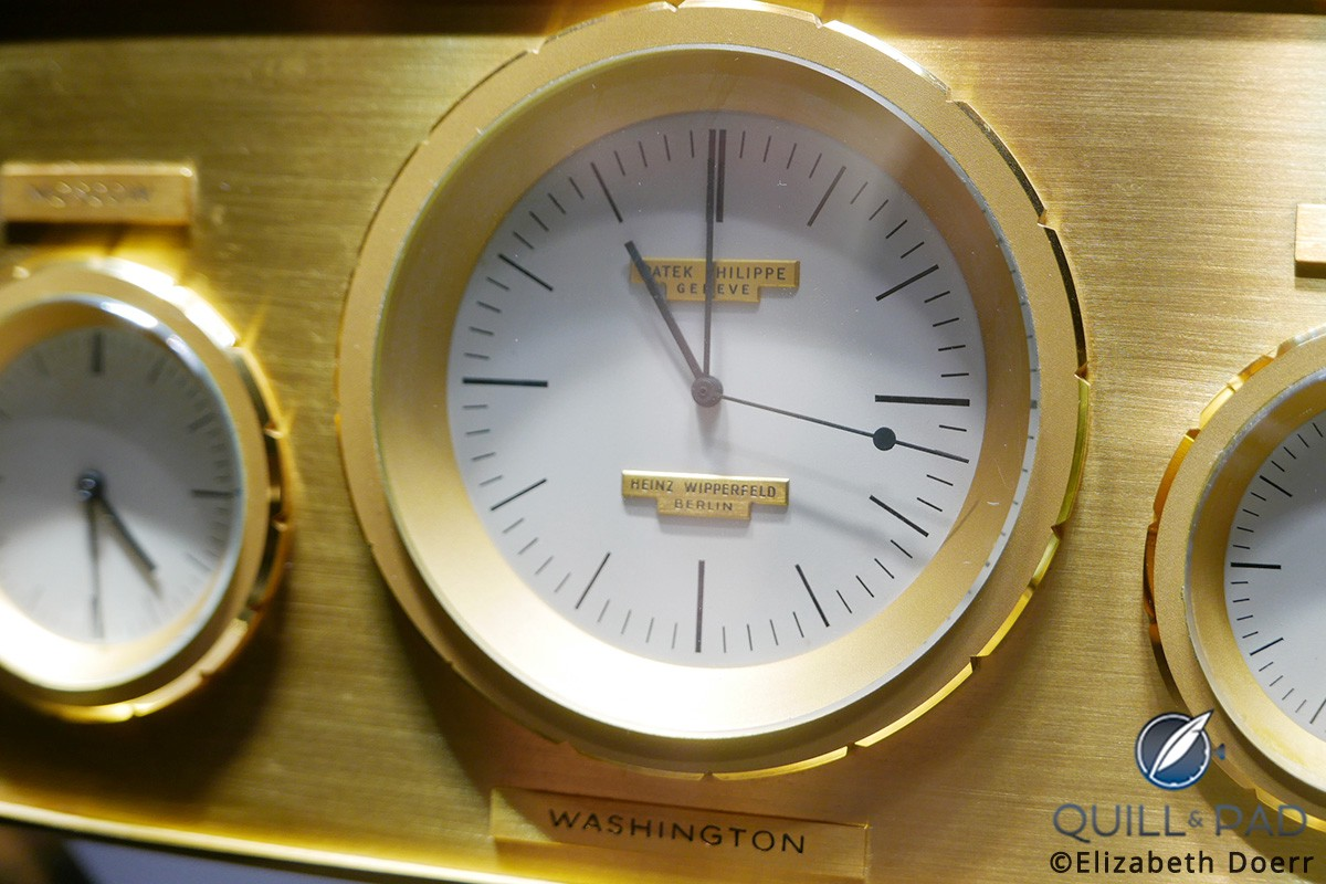 Close look at the main dial of the JFK clock