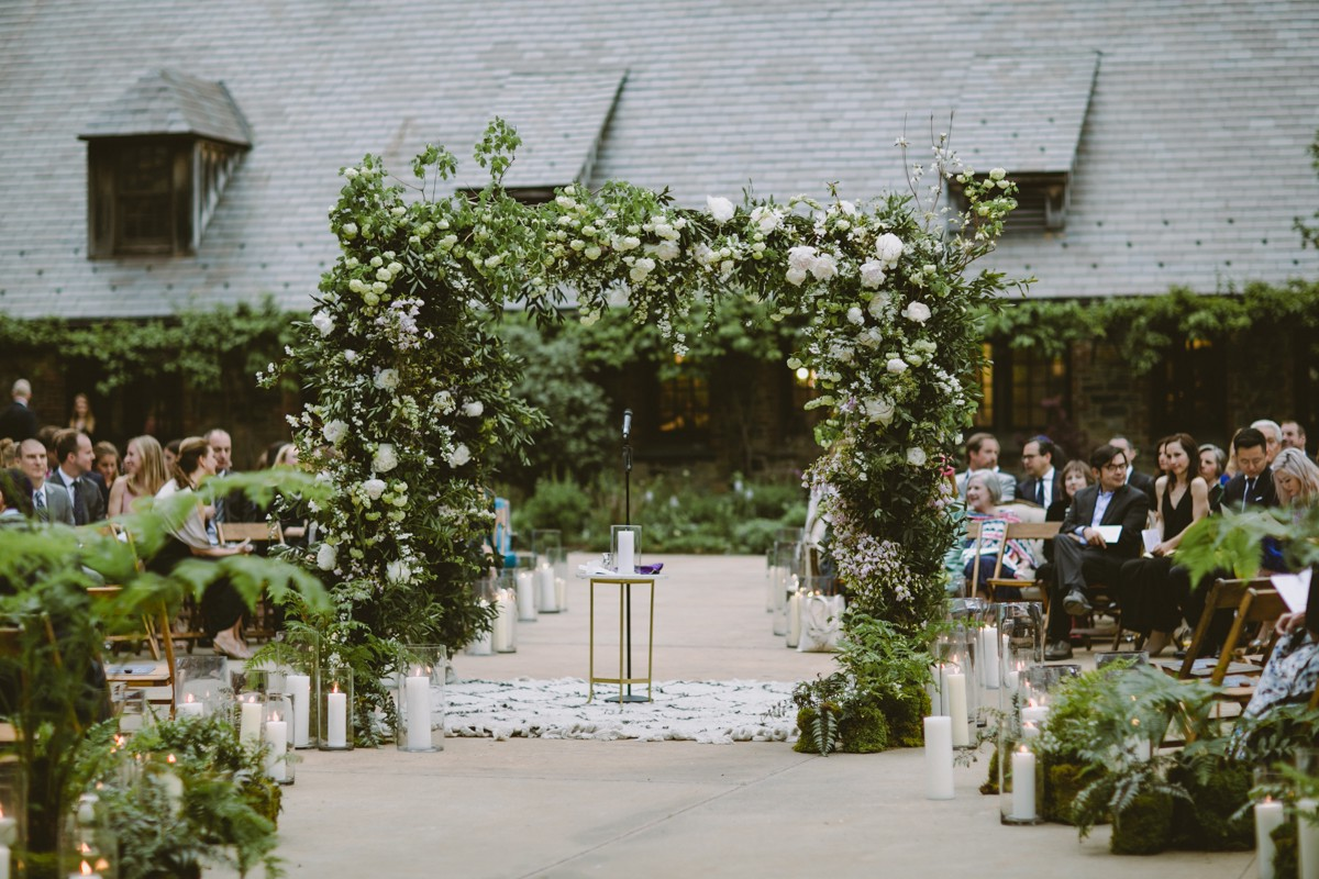 wedding ceremony setup - http://ruffledblog.com/modern-country-meets-secret-garden-wedding