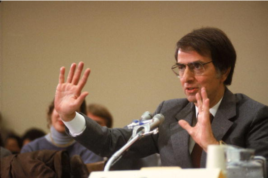 Carl Sagan testifying before Congress regarding nuclear winter.