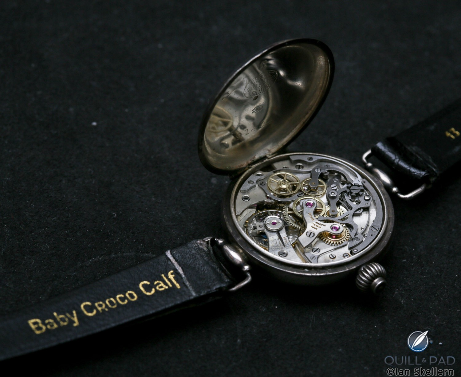 Movement side of an early Ulysse Nardin chronograph with enamel dial from Gerd-Rüdiger Lang's extensive chronograph collection